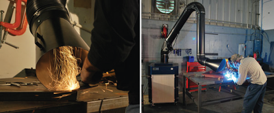 A Sentry Air welding fume extractor used for both grinding and welding operations.