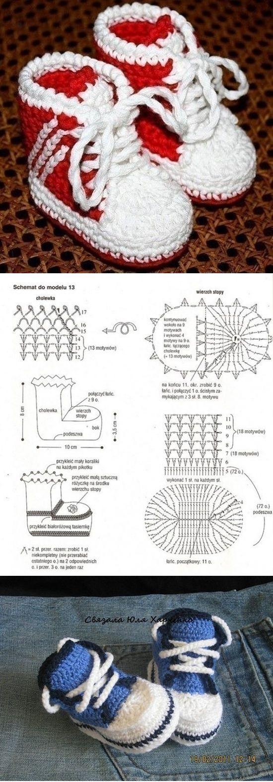 Croche Madona-mía puntos y graficos: Zapatitos de Bebe paso a paso ...