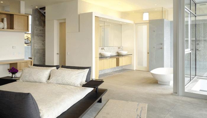 Bathroom And Bedroom Design In Open Plan