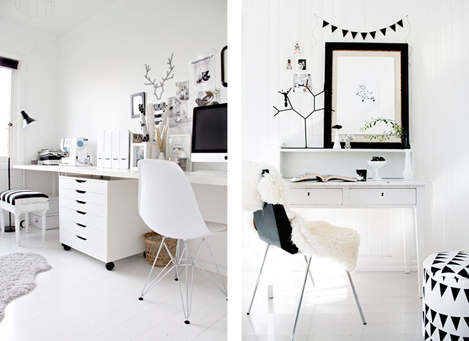 minimalist office, minimalist work space, black and white desk, white room, minimal pinterest