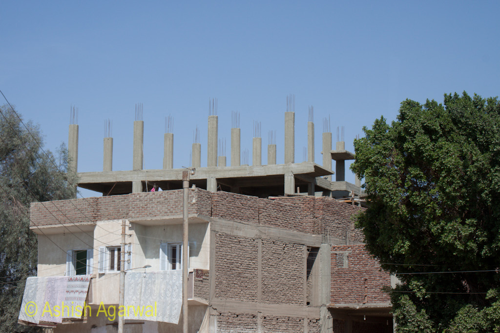 View of an Egyptian under construction house in Cairo