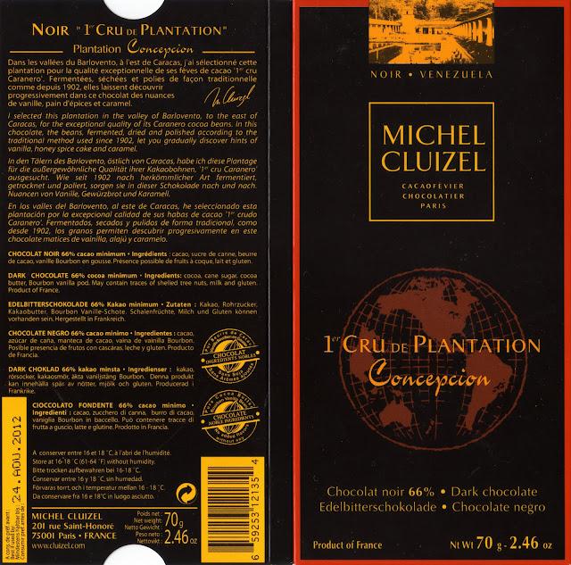 tablette de chocolat noir dégustation michel cluizel noir 1er cru de plantation concepcion