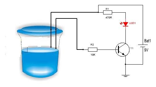 Indicador de nivel de agua con led.