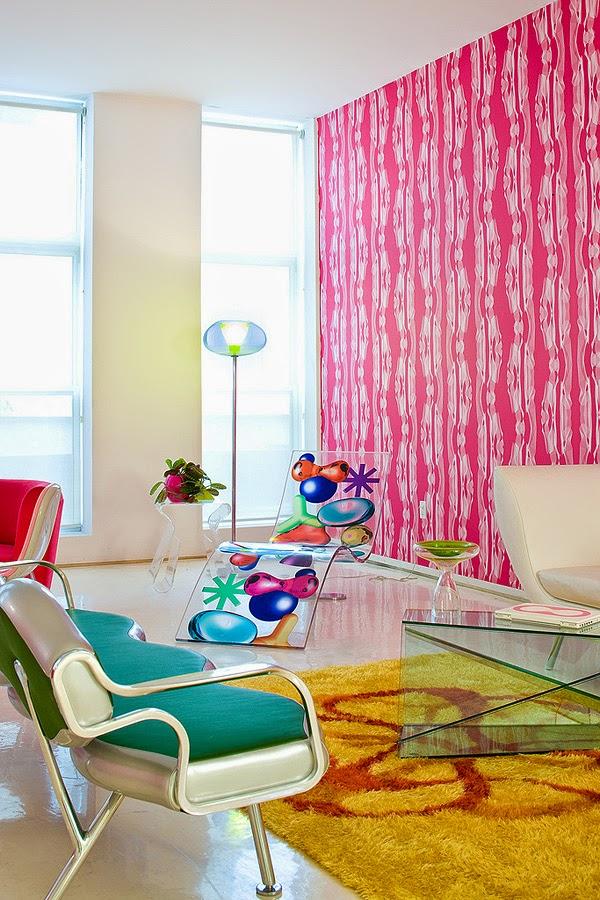 Karim Rahid, artists apartment, new york, neon colors interior