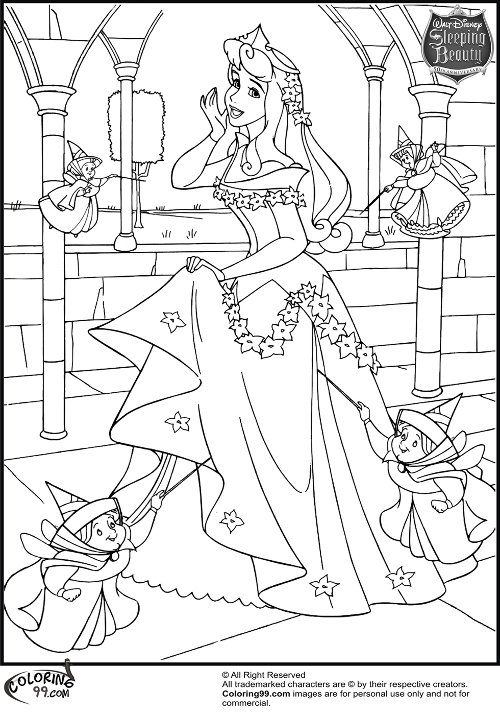 Candid image in free printable princess coloring pages