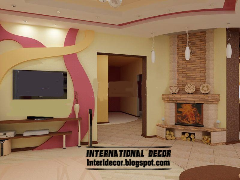 Modern gypsum board wall interior designs and decorative - Interior wall designs for living room ...