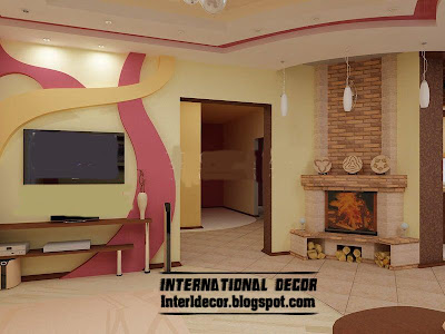 modern gypsum board wall decoration for living room interior design