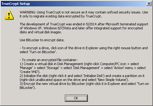 truecrypt warning