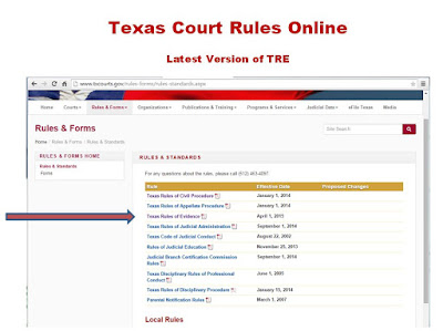 WEb address for Texas Rules of Courts Online - Location of Rules of Evidence