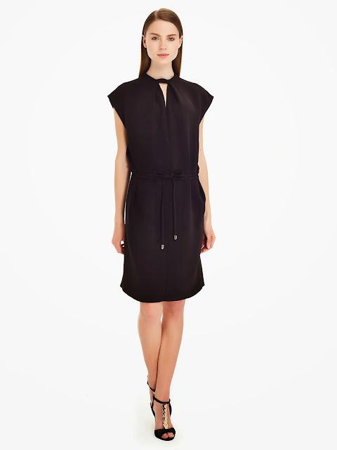 ince kemerli siyah elbise modeli kolsuz, 2014 elbise modelleri, ipekyol