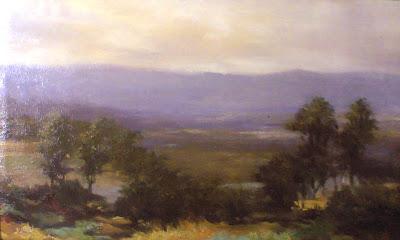 lukisan karya toto sukatma,Lukisan pemandangan,lukisan suasana desa,lukisan,lukisan diatas bukit.lukisan pemandangan bukit
