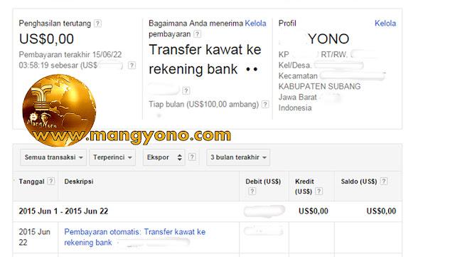THR dari Google Adsense via transfer kawat ke rekening bank