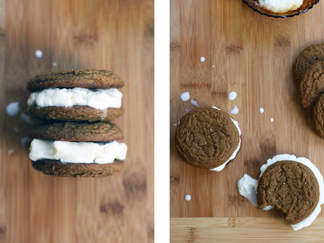 Soft and chewy ginger molasses ice cream sammies | Sevengrams