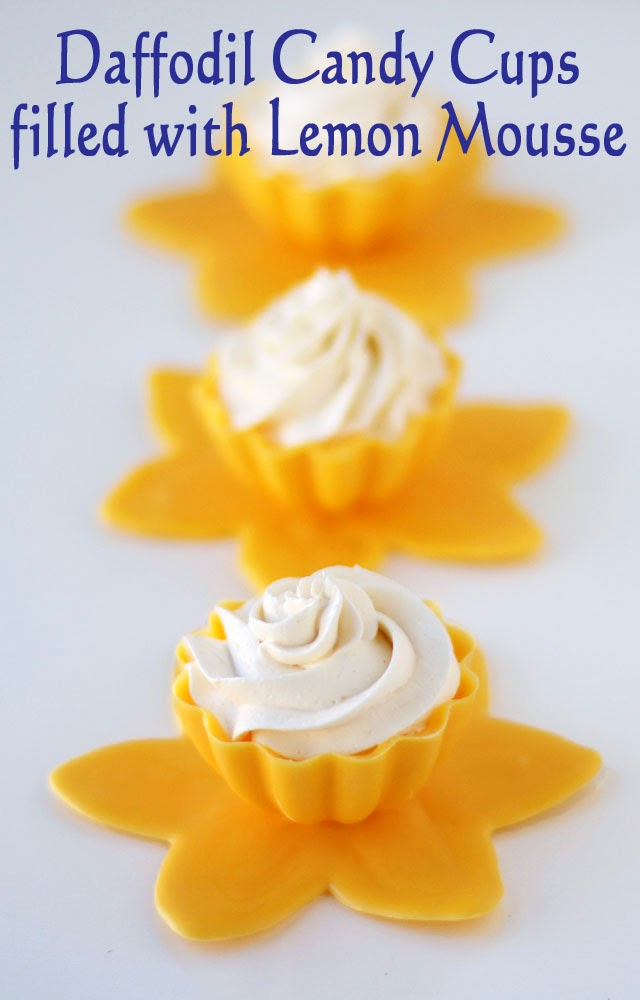 Daffodil Candy Cups filled with Lemon Mousse | HungryHappenings.com