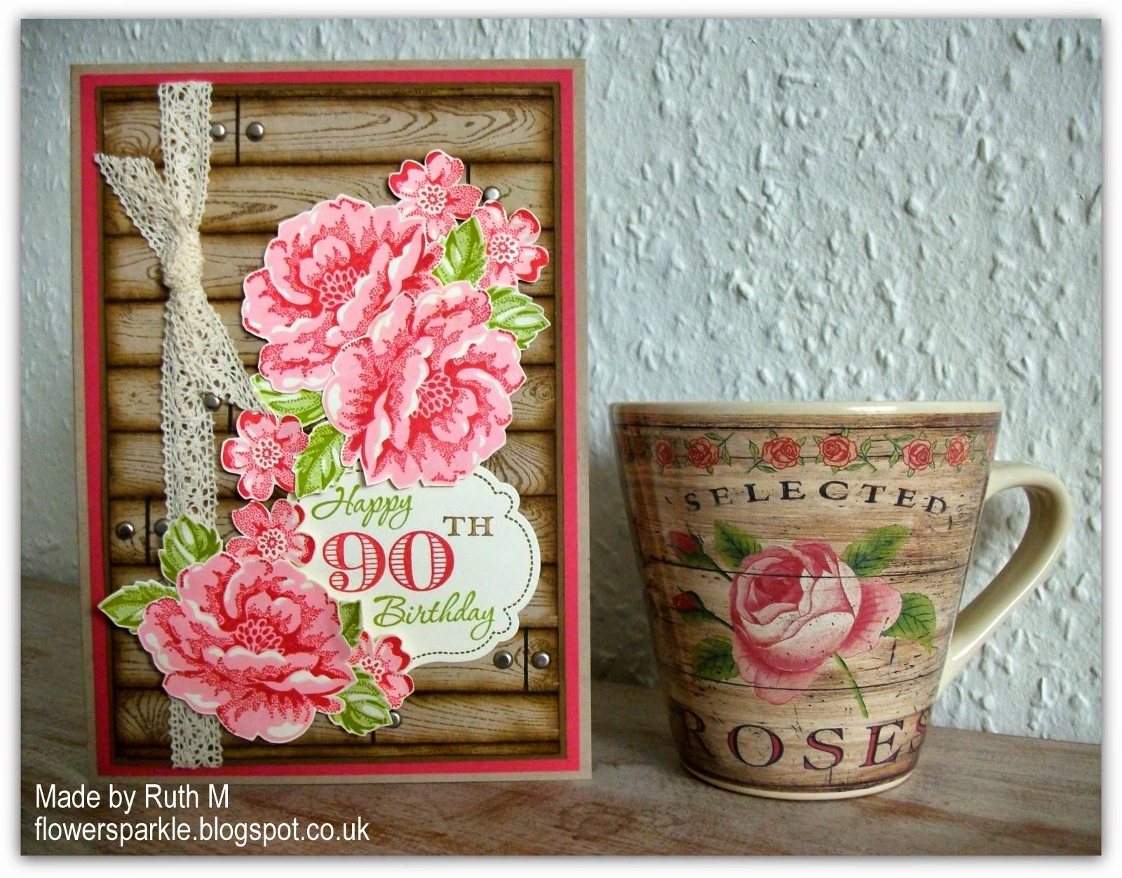 Flower Sparkle Wooden Planks Roses 90th Birthday Card