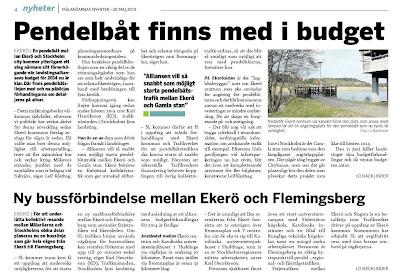 Faksimil från Mälaröarnas Nyheter 20 maj 2013.
