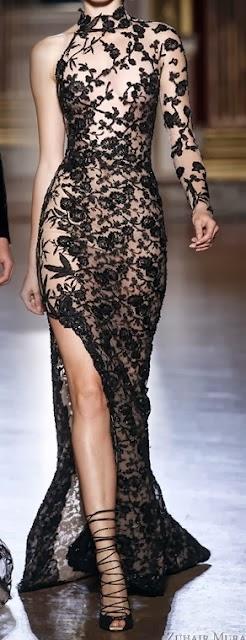 Flowery Black Lace Dress