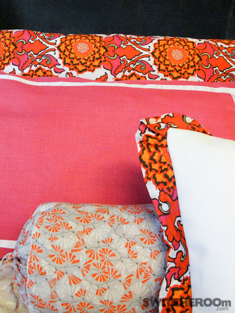 custom bedding, orange pillow case, hot pink pillowcase