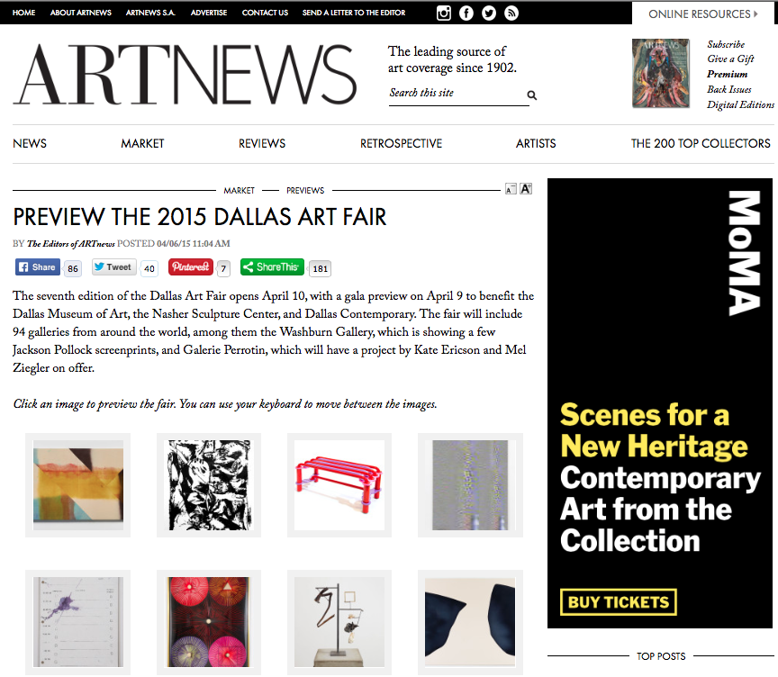 ArtNews - Preview Selection from Dallas Art Fair 2015 includes: Wilder Alison, Jackson Pollock, Jim Drain, Konrad Wyrebek, Eric Wesley, Ernesto Mallard, Carol Bove, Landon Metz, Kate Ericson and Mel Ziegler, James Magee, Sarah Dwyer, Peter Saville, Robert Lazzarini, Pentti Monkkonen at Jonathan Viner.