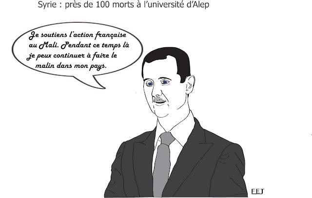 syrie-100-morts-à-l'université-d'alep-fej-dessin