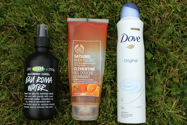 Lush Eau Roma Water, The Body Shop Satsuma Body Polish, Dove Original