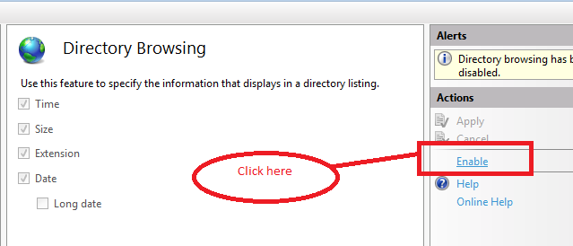Enable Directory Browsing in IIS