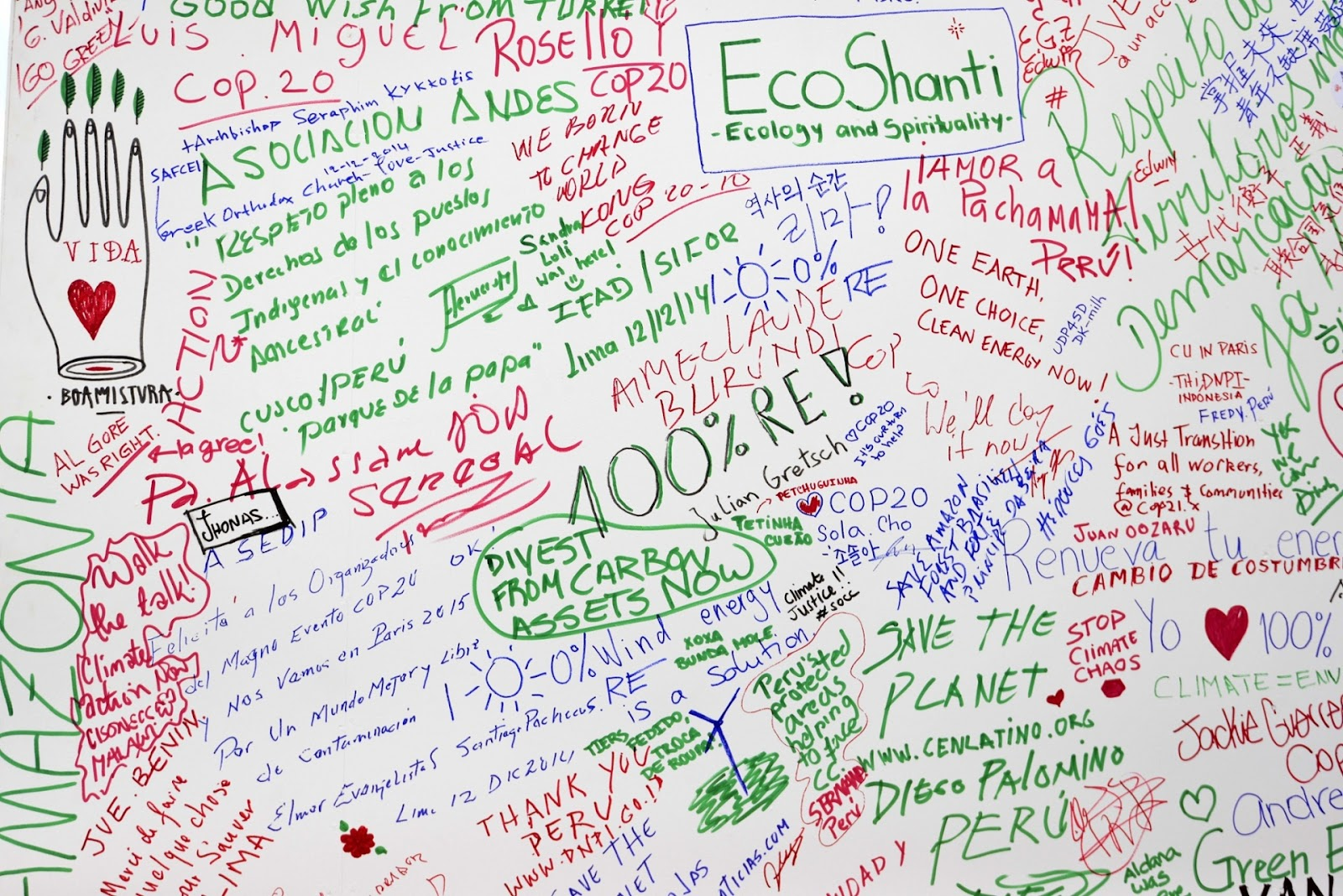 Photograph, Cris Bouroncle: Word graffiti from Cop20 Lima climate change talks.