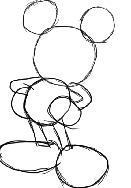 how to draw cute mickey mouse