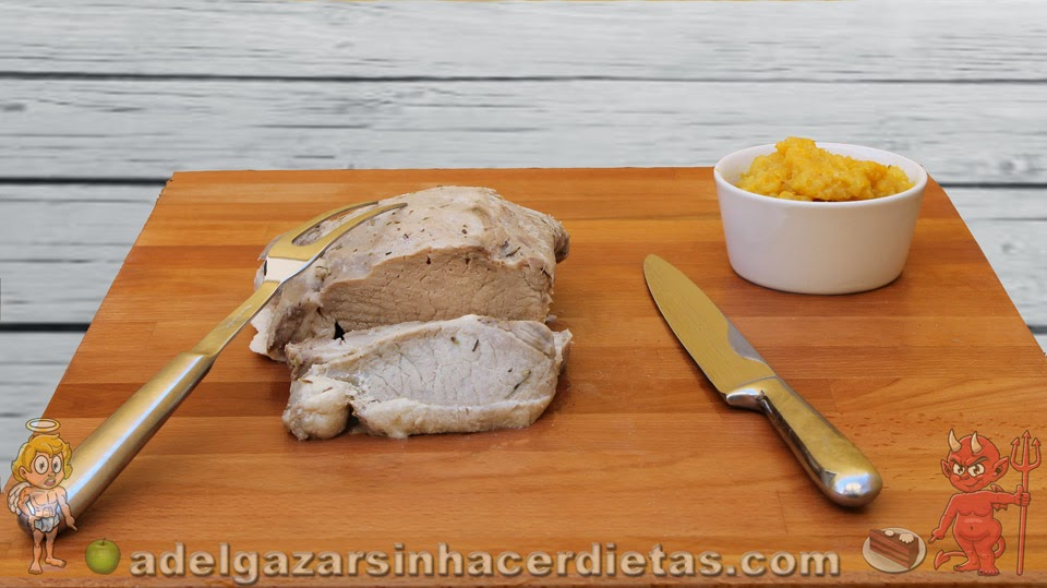 Receta saludable de lomo a la sal con compota de manzana y naranja bajo en calorías, apto para diabéticos y bajo en colesterol.