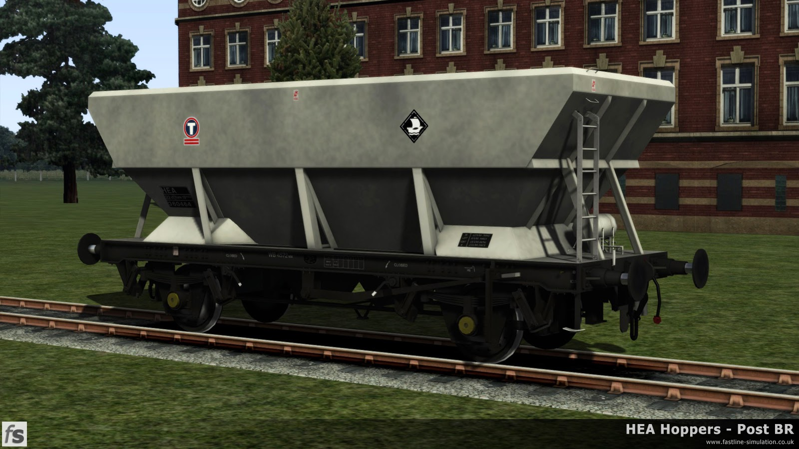 HEA Hoppers - Post BR: A work in progress picture of one of the later offset ladder HEA hoppers in almost ex-works Transrail livery under development for Train Simulator 2014.