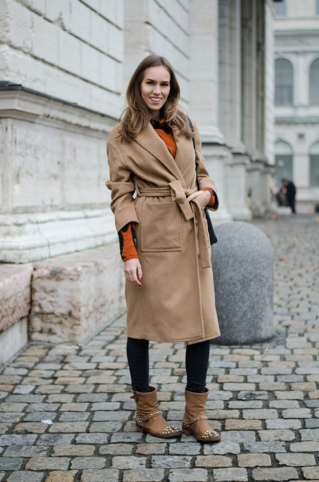 kristjaana mere camel coat ankle boots brown casual winter outfit