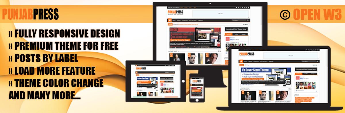 Chia sẻ template blogspot tạp chí Punjab Press 2014