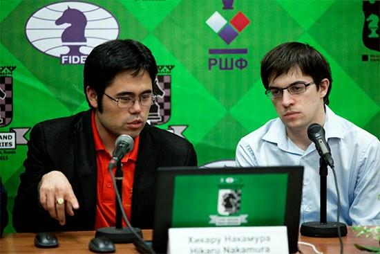 Échecs : La conférence de presse d'après partie avec Hikaru Nakamura  et Maxime Vachier-Lagrave - Photo © Kirill Merkurev