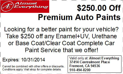 Discount Coupon $250 Off Premium Auto Paint Sale October 2014