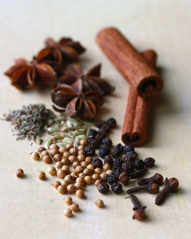 warming spices for soup like cinnamon sticks, star anise, black peppercorns