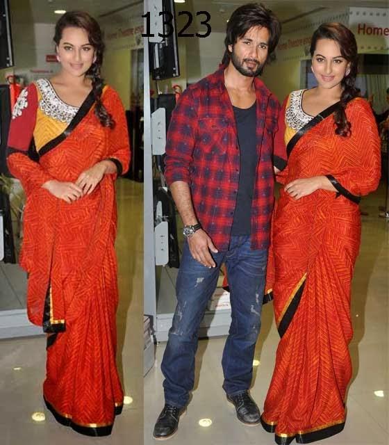 Sonakshi Sinha in Red Saree at R Rajkumar Movie Promotion