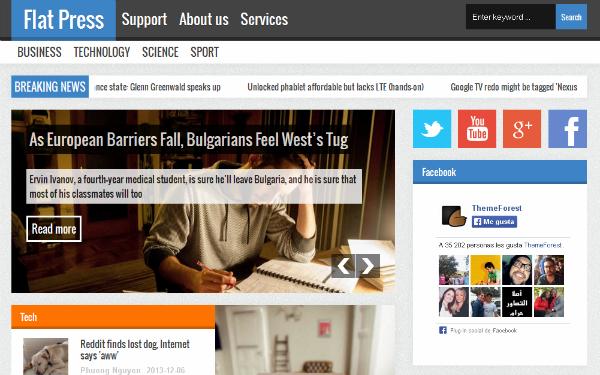 Flat Press, plantilla para Blogger