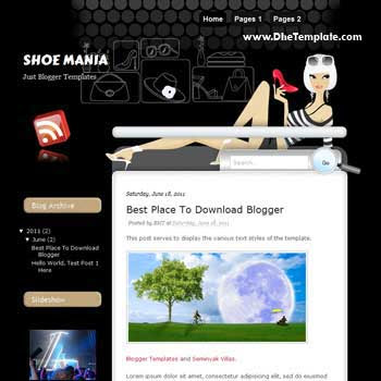 Shoe Mania Blogger Template. beautiful template with shoe background