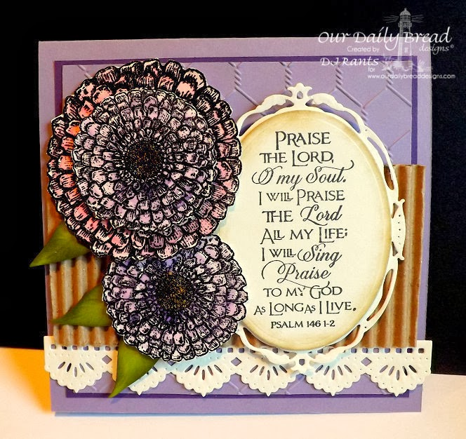 Our Daily Bread Designs, Zinnia and Leaves Dies, Beautiful Borders Dies, Zinnia, Scripture Collection 10