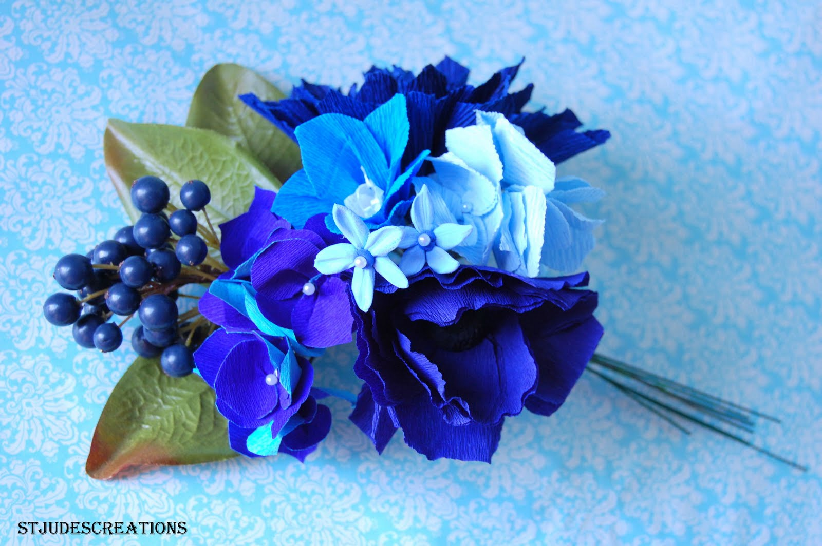 Paper flowers blue is quite a challenging color to do flower in here are samplers for the bride navy blue dahlia white dahlia delphiniumfillers in blueblue and purple izmirmasajfo