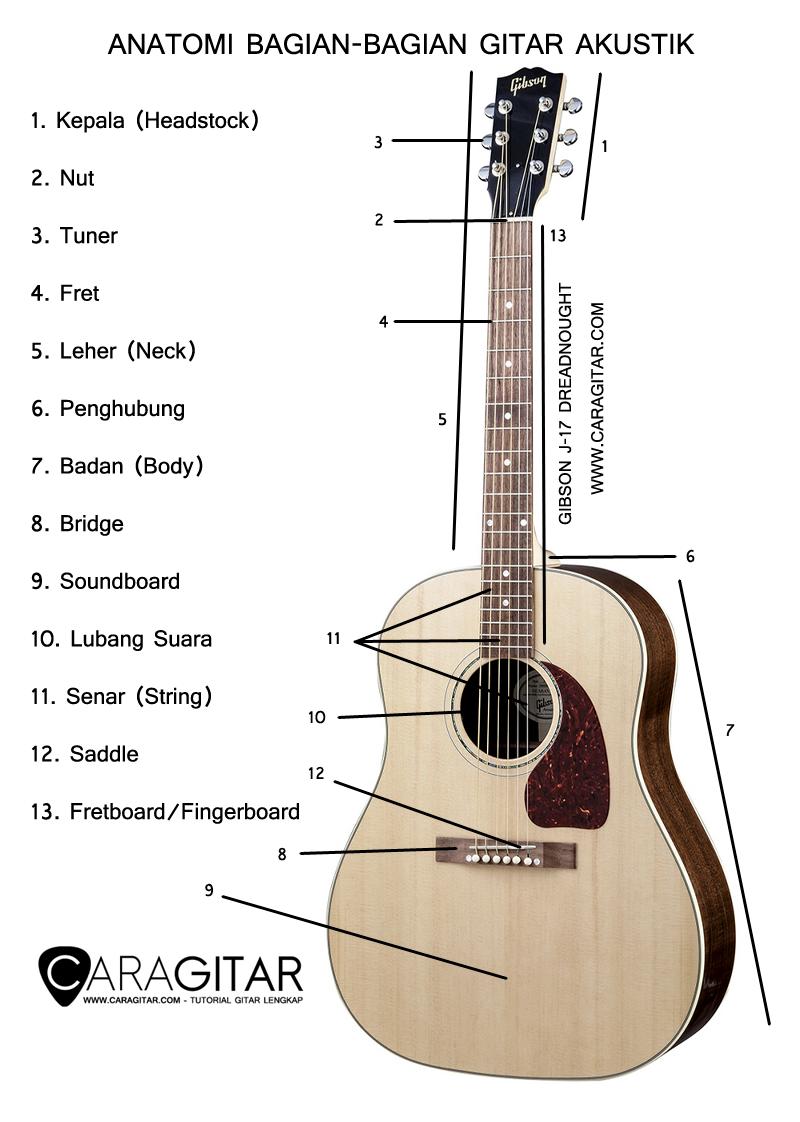 bagian bagian gitar akustik