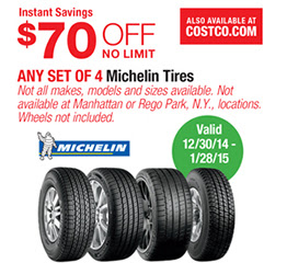 Costco $70 off any set of 4 Michelin tires