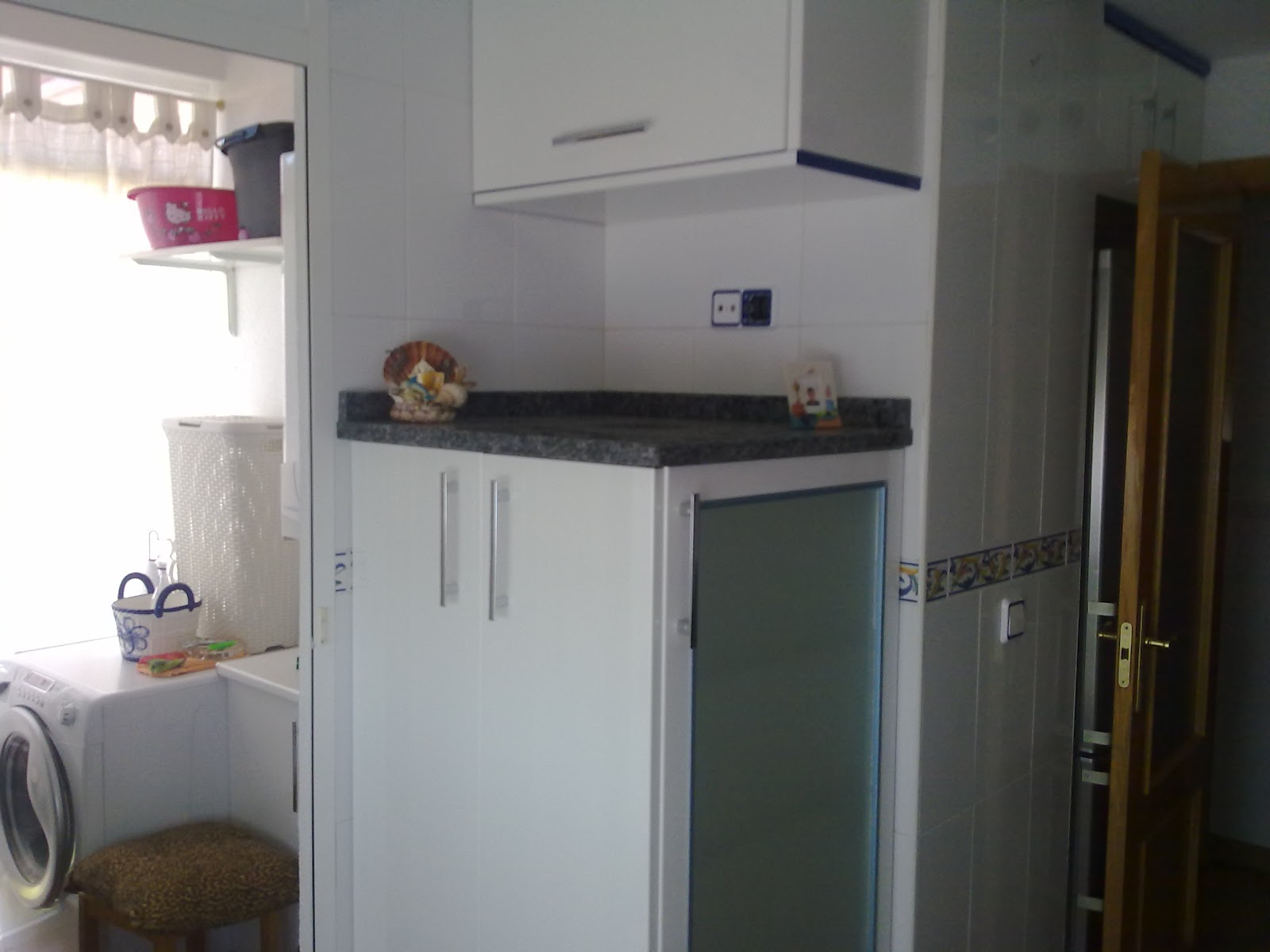 Laminado alto brillo blanco azul encimera granito - Muebles de cocina sueltos ...