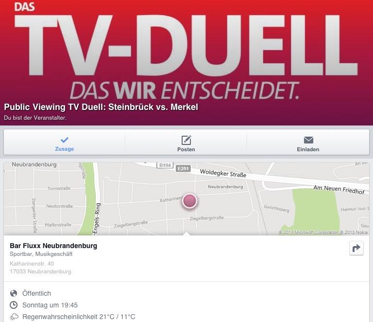"""Public Viewing Angela Merkel vs. Peer Steinbrück am Sonntag, den 01.09.2013 ab 19:45 in die Bar """"fluxx"""" (ehemals Oldi-Kaffee), Katharinenstr. 40 (nahe IHK), Neubrandenburg"""