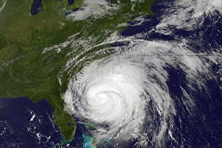 Hurricane Irene from satellite photo, August 26, 2011