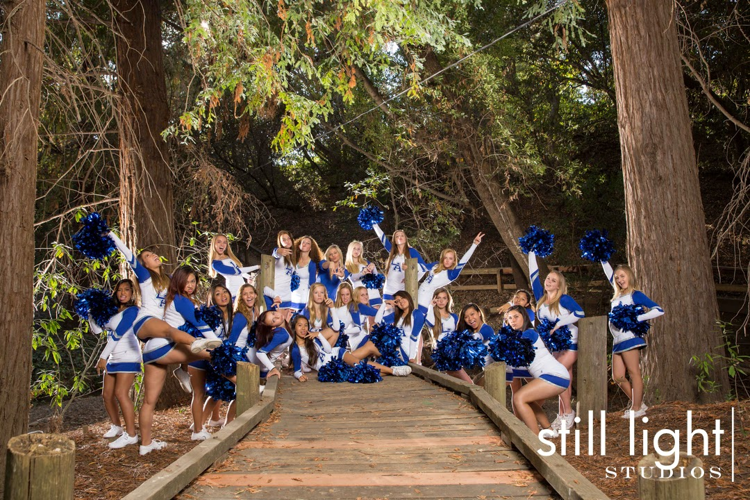 Los Altos High School Cheerleaders Team Photo by Still Light Studios, School Sports and Senior Portraits Photography in Bay Area. cinematic, nature