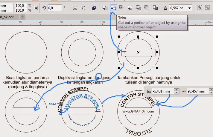 Proses Pengaturan Lingkaran, Tulisan pada Stempel