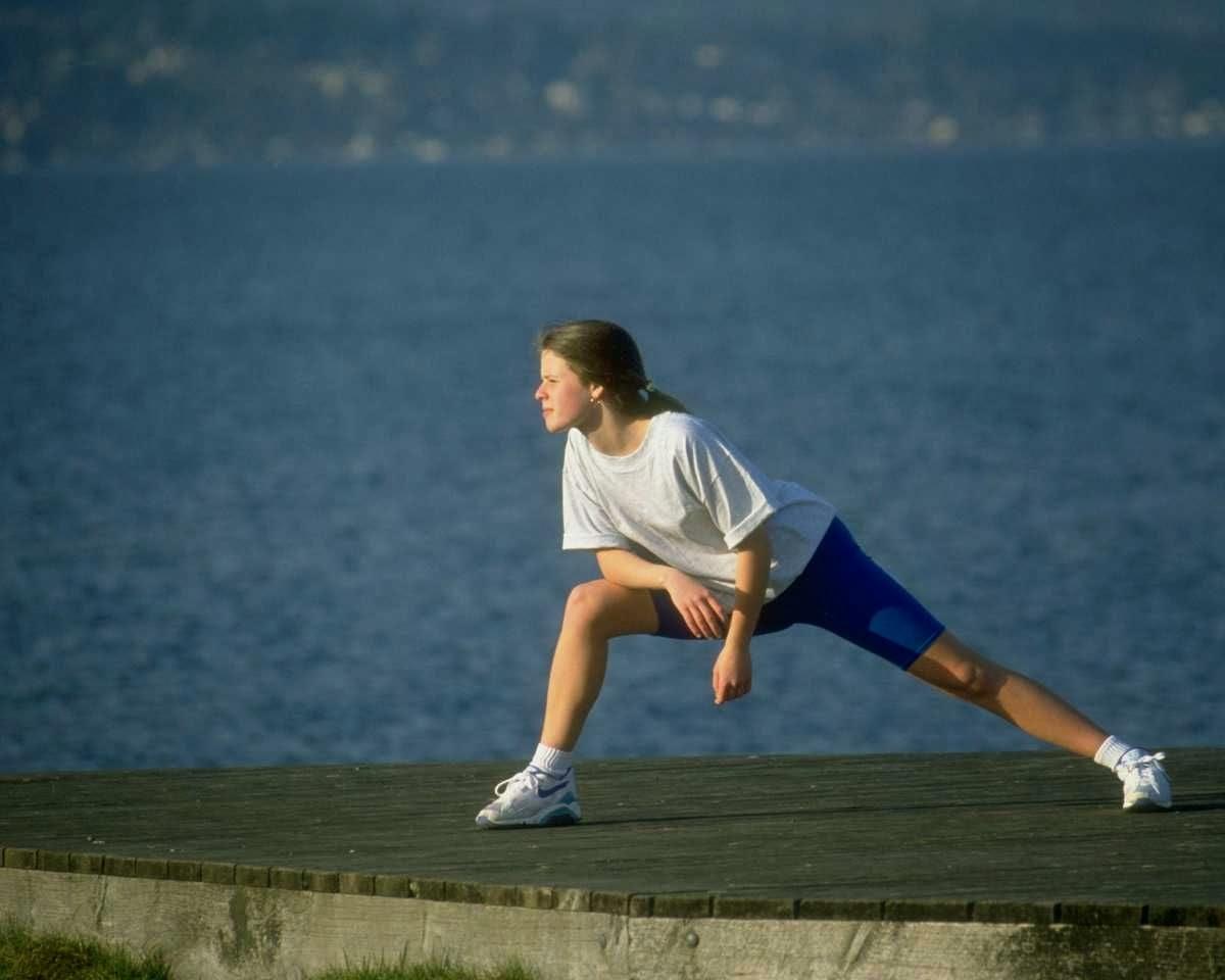 femme. sport, exercice, santé, shorts, T-shirt, queue de cheval