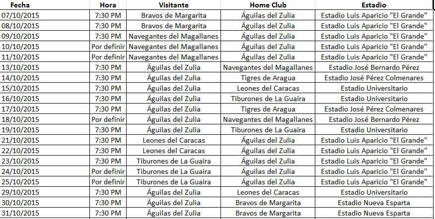 Calendario de las Águilas en la temporada 2015-2016 Calendario%2BAguilas%2Boct