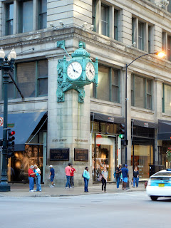 Marshall Field Clock on State St. in downtown Chicago, Illinois